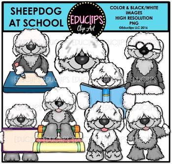 Sheepdog At School Clip Art Bundle