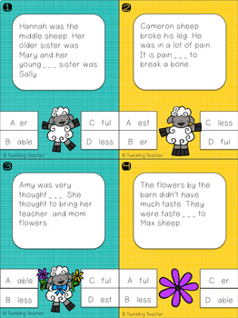 Sheepish Suffix Practice with Task and Clip Cards!