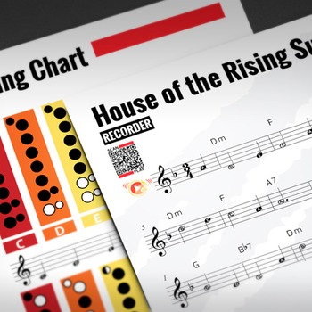RECORDER SHEET MUSIC: House of the Rising Sun w/ Fingering Chart