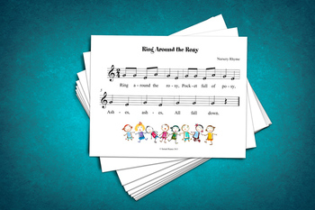 Sheet Music: Ring Around the Rosy Children's Rhyme