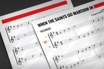 Recorder Sheet Music: When the Saints Go Marching In - Duet
