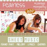 Sheet music: piano, lyrics, chords, melody