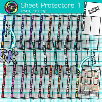 Sheet Protector Clip Art | Transparent Back to School Supplies for Teachers 1