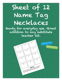 Sheet of 12 Name Tag Necklaces