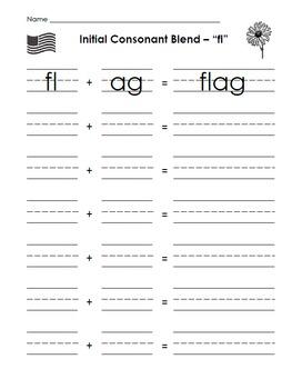 Sheets and Letter Tiles for Initial Consonant Blends fl, fr, gl, gr, pl, pr, tr