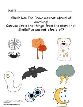 Sheila Rae The Brave:  A Speech and Language Activity
