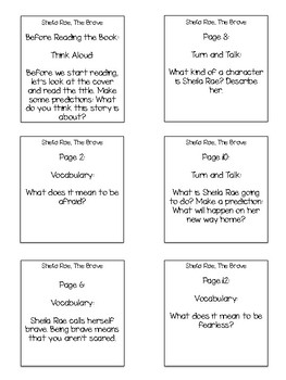 Sheila Rae, The Brave Interactive Read Aloud Sticky Note Questions