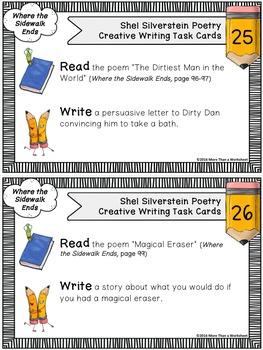 Shel Silverstein Creative Writing Task Cards