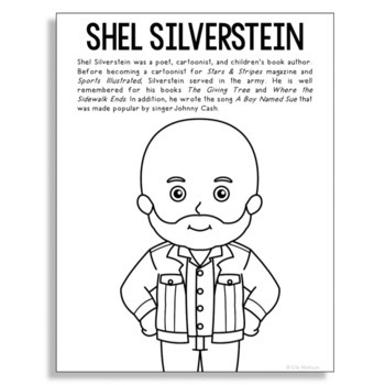 Shel Silverstein, Famous Author Informational Text Coloring Page Craft, Library