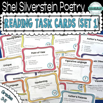Shel Silverstein Poetry Task Cards (Set 1) by More Than a Worksheet