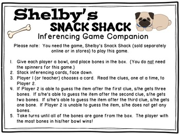 Shelby's Snack Shack Game Companion: Inferencing