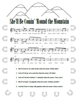 """She'll Be Comin' 'Round the Mountain"" Printable Song Sheet"