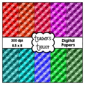 Shell Pattern Digital Papers {8.5 x 11} Clip Art CU OK