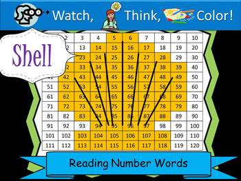Shell Reading Number Words - Watch, Think, Color Game!