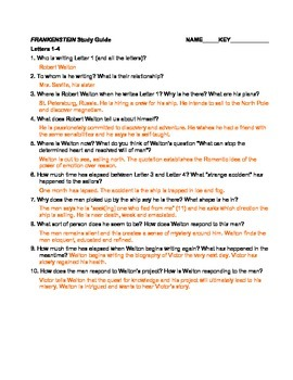 shelley s frankenstein chapter questions and answer key tpt rh teacherspayteachers com Frankenstein Reading Guide Questions Answers Frankenstein Reading Guide Questions Answers