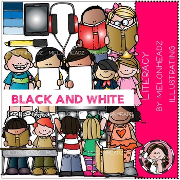 Shelley's Literacy clip art - BLACK AND WHITE- by Melonheadz