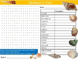 Shells Wordsearch Sheet Starter Activity Keywords Cover Nature The Beach Sea