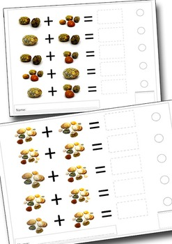 Shells and Pebbles ADDITION worksheets