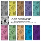 Shells and Starfish Digital Backgrounds