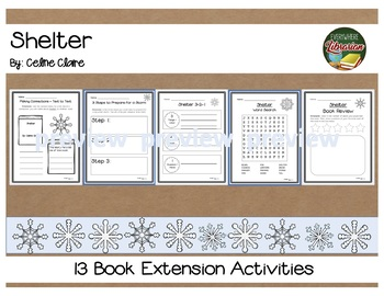 Shelter by Celine Claire 13 Book Extension Activities NO PREP