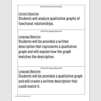 Sheltered Instruction Content and Language Objectives Qualitative Graphs