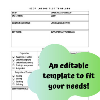 Sheltered Instruction (SIOP) Lesson Template