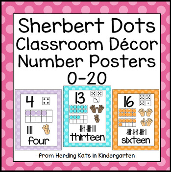Sherbert Polka Dots Classroom Posters Numbers from 0 - 20