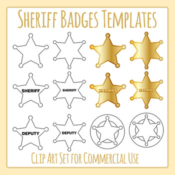 Sheriff Badges / Deputy Stars Templates Clip Art Set for Commercial Use