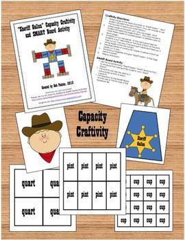 """Sheriff Gallon Man"" Capacity (Measurement) Craftivity and SMART Board Activity"