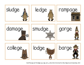 Sheriff George and The Badge: -ge, -dge, and u_e Word Work Activities