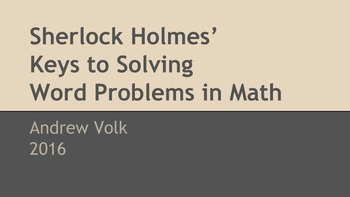 Sherlock Holmes'  Keys to Solving Word Problems in Math