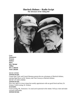 Sherlock Holmes - Radio Script - The Adventure of the Tolling Bell