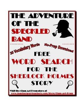 "Sherlock Holmes: ""The Adventure of the Speckled Band"" Word Search FREE"
