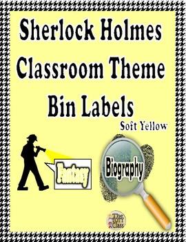 Sherlock Holmes Theme ( Soft Yellow ) Book Bin Labels
