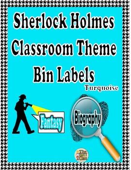 Sherlock Holmes Theme ( Turquoise) Book Bin Labels