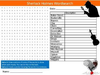 Sherlock Holmes Wordsearch Puzzle Sheet Keywords English Literature Novels