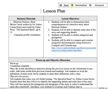 Sherlock Holmes reading lesson plan ( part 2)