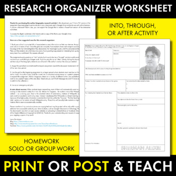 Sherman Alexie Author Study Worksheet, Easy Biography Activity, CCSS