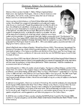Sherman Alexie (Diary of a Part Time Indian Author) Biography and Questions