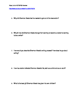 Sherman Alexie Interview Video Link and Student Questions
