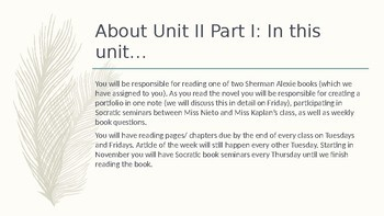 Sherman Alexie PowerPoint: Writing Prompts, Book Units