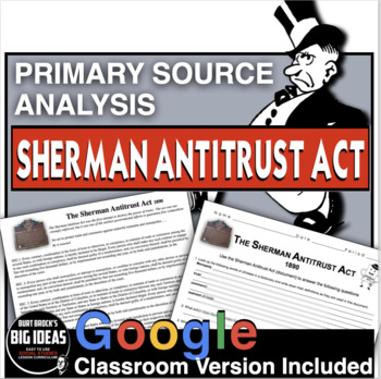 Sherman Antitrust Act Primary Source Worksheet