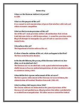 Sherman Antitrust Act Webquest With Answer Key!