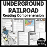 The Underground Railroad Reading Comprehension Worksheet, Civil War, Slavery
