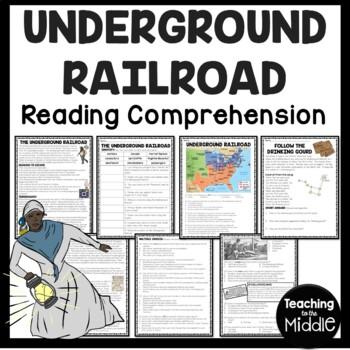 The Underground Railroad Reading Comprehension Worksheet, Civil War, Slavery