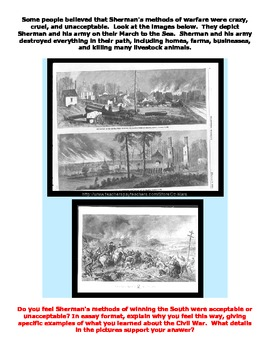 Sherman's March to the Sea - File Folder Center and Worksheet 4th-5th-6th