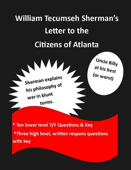 Civil War Sherman's letter to the citizens of Atlanta (with questions & key)