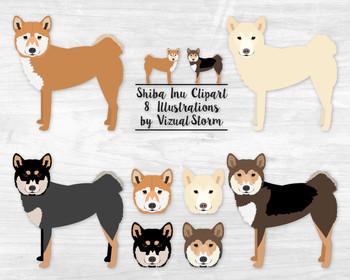 Shiba Inu Dog Clipart - 8 Hand Drawn Japanese Spitz Dog Illustrations