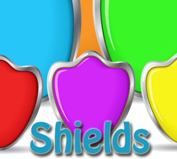 Shields in a variety of colors