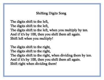 Shifting Digits Song (Multiply and Divide by 10 and 100)